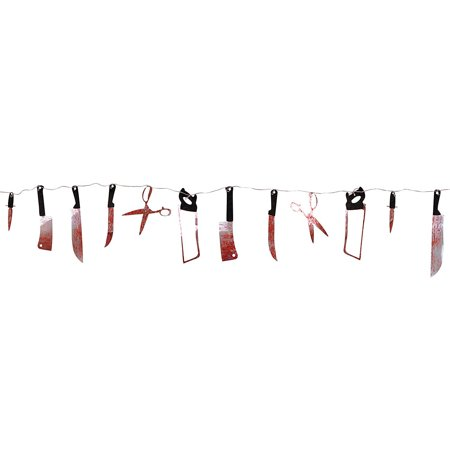 7.5 ft Paper Bloody Splatter Halloween Horror Scary Metallic Butcher Knife Chainsaw Weapon Killer Tools Garland Party Decoration Haunted House Banner by Super Z Outlet](Halloween Horror Nights Chainsaws)