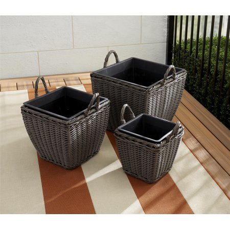 - Cosco Outdoor Nesting Pot Planter 3-Piece Basket Box Set, Gray Wicker