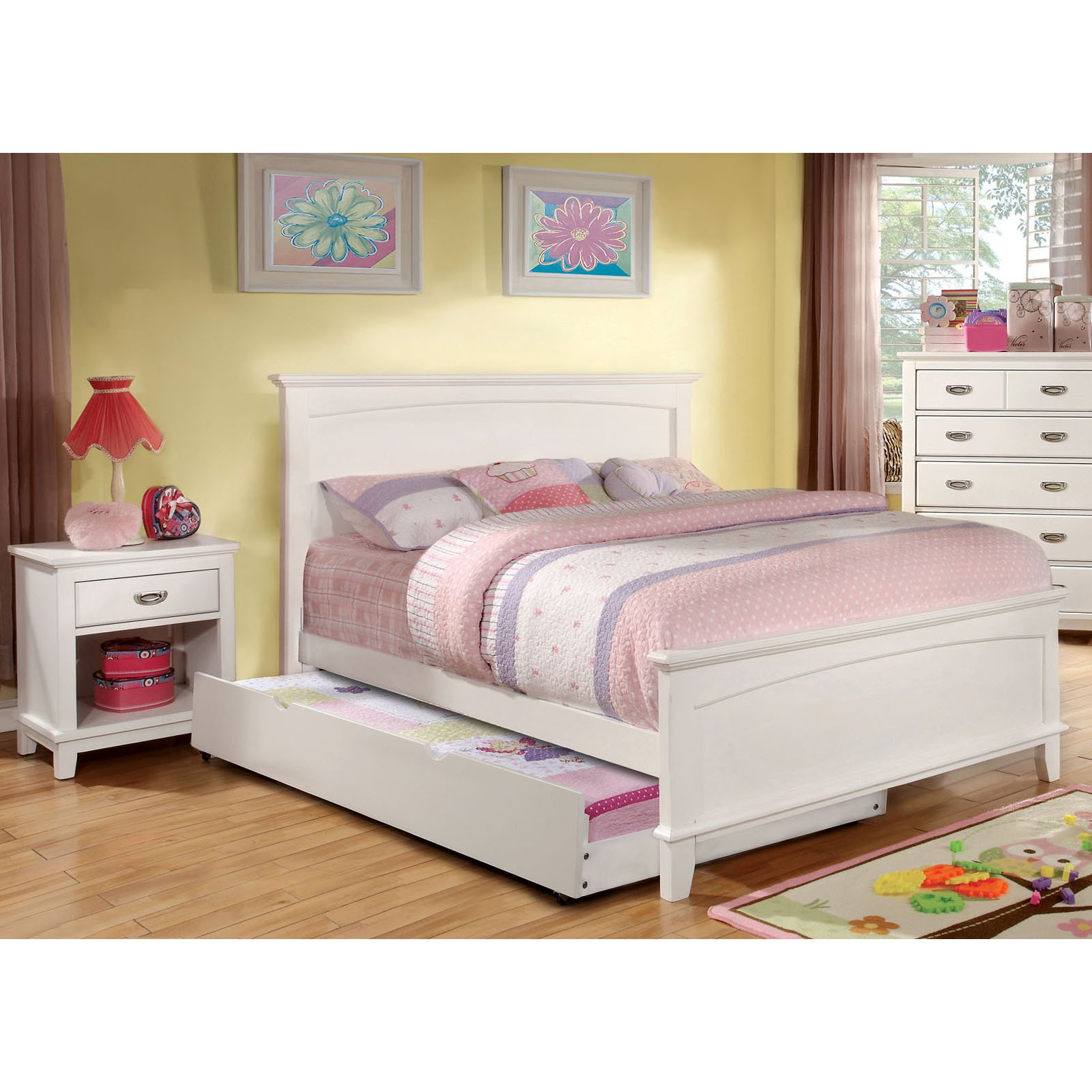 Furniture of America Alana Marie Inspired 2-Piece Bedroom Collection with Nightstand - White