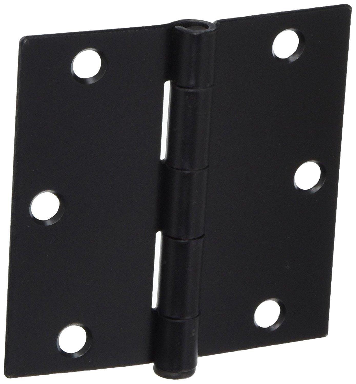 "Cosmas Flat Black Door Hinge 3.5"" Inch x 3.5"" Inch with Square Corners"