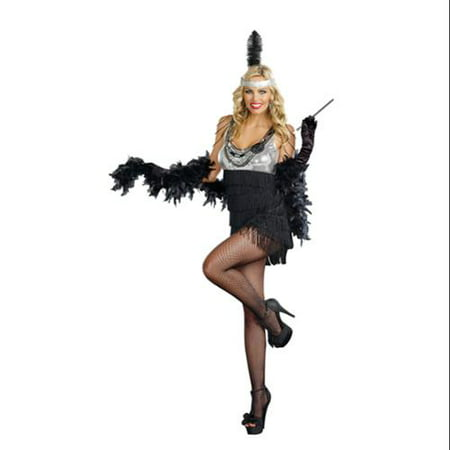 Sexy Razzmatazz Flapper Costume Dress Adult (Black And Silver Flapper Dress)
