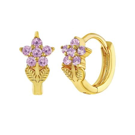 18k Gold Plated Cubic Zirconia Flower Huggie Small Hoop Earrings for Girls ()
