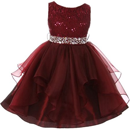 Big Girls' Sleeveless Shiny Sequined Rhinestones Beaded Pageant Flower Girl Dress Burgundy 10 (M3B5K7) Burgundy Flower Girl Pageant Dress