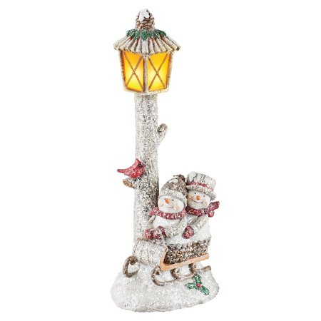 Faux Tabletops - Lighted Happy Sledding Snowmen Lamppost Tabletop Seasonal Decor - Includes Faux Snow for Holiday Charm