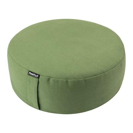 Stupendous Reehut Zafu Yoga Meditation Bolster Pillow Cushion Filled With Buckwheat Round Organic Cotton Or Hemp Green 13X13X4 5 Creativecarmelina Interior Chair Design Creativecarmelinacom