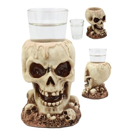 Ebros Gothic Ossuary Graveyard Melting Skull Shot Glass Holder Figurine 5