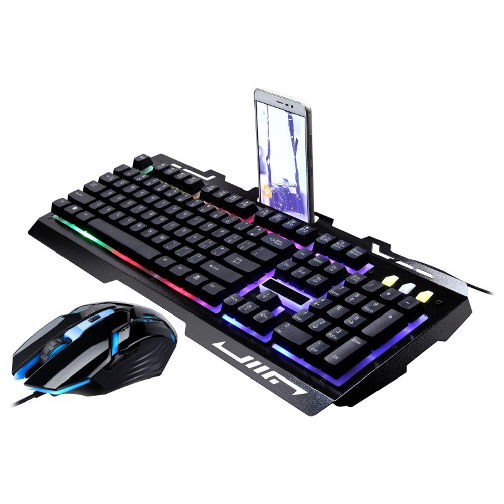 Outtop G700 LED Rainbow Color Backlight Gaming Game USB Wired Keyboard Mouse Set LOL