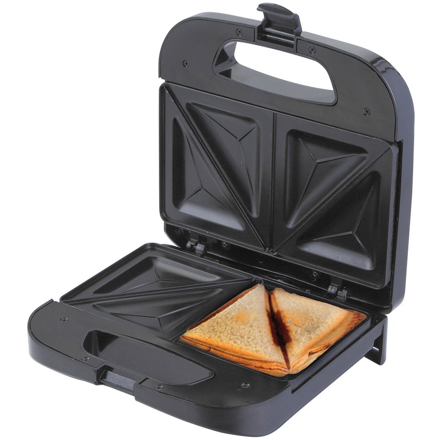 Chefman Sandwich Maker, Makes 2 Full Sandwiches with Deep Non-Stick Pockets Black
