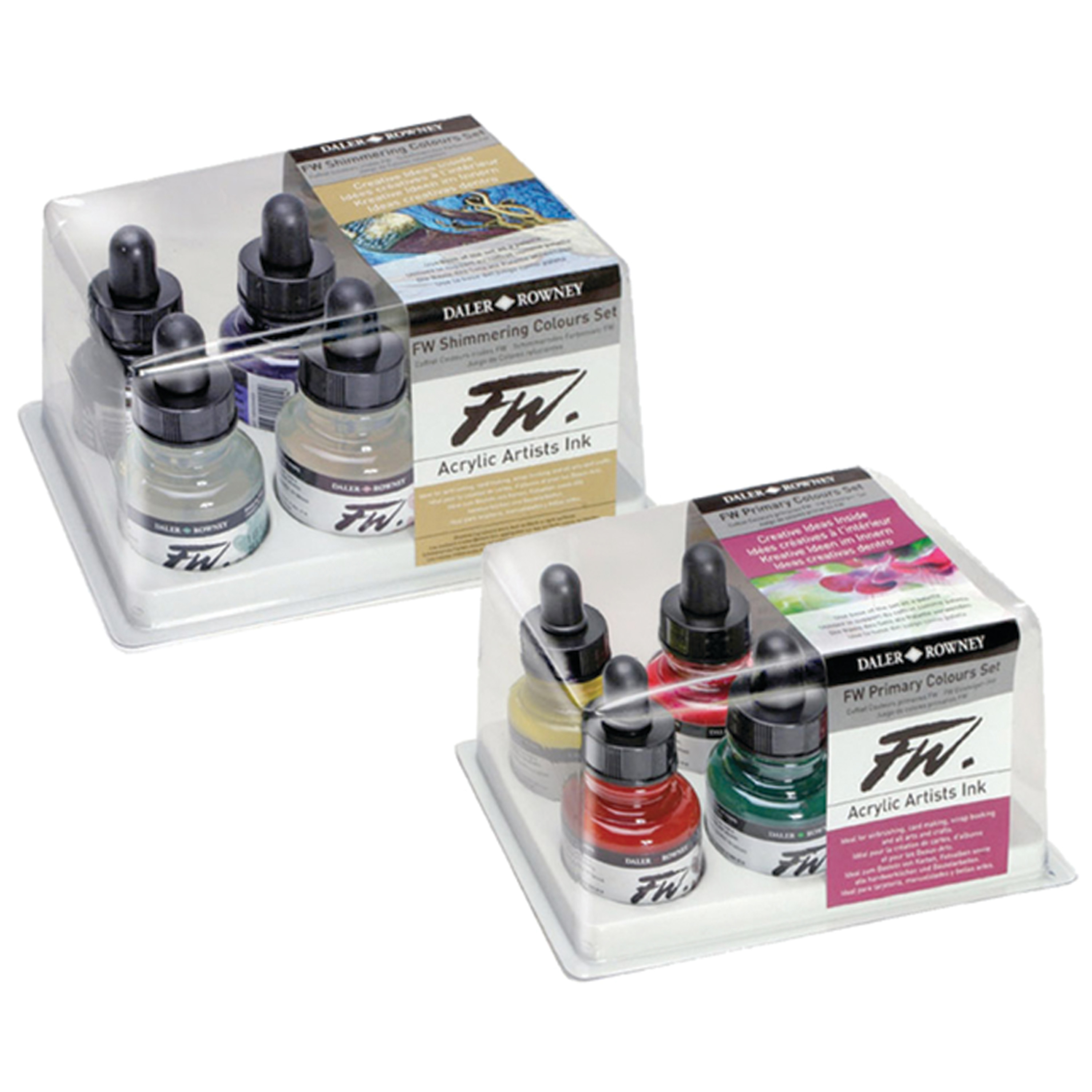 Daler-Rowney FW Acrylic Artists Ink Set, Primary Colors Set