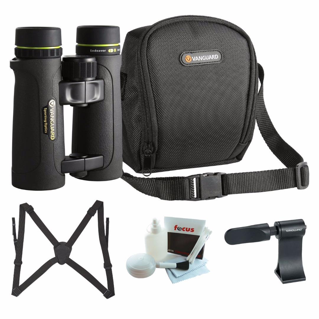Click here to buy Vanguard Endeavor ED II 8x42 Binocular with Roof Prism Binocular Adapter, Binocular Harness, and Cleaning Kit by Vanguard.