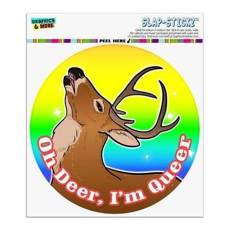 Oh Deer I'm Queer Rainbow Pride Gay Lesbian Funny Automotive Car Window Locker Circle Bumper Sticker