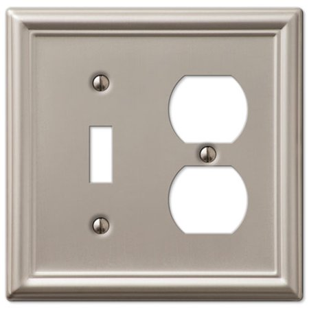 Tiffany Style Oval Silver Toggle - Single Toggle Single Duplex 2-Gang Wall Switch Plate, Brushed Nickel