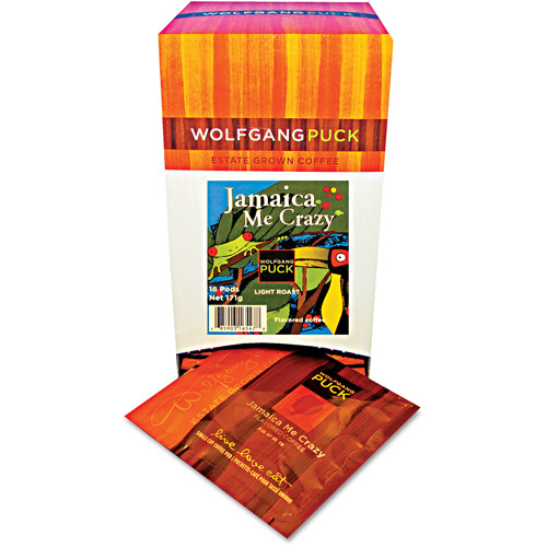 Wolfgang Puck Jamaica Me Crazy Light Roast Coffee Pods, 18 count