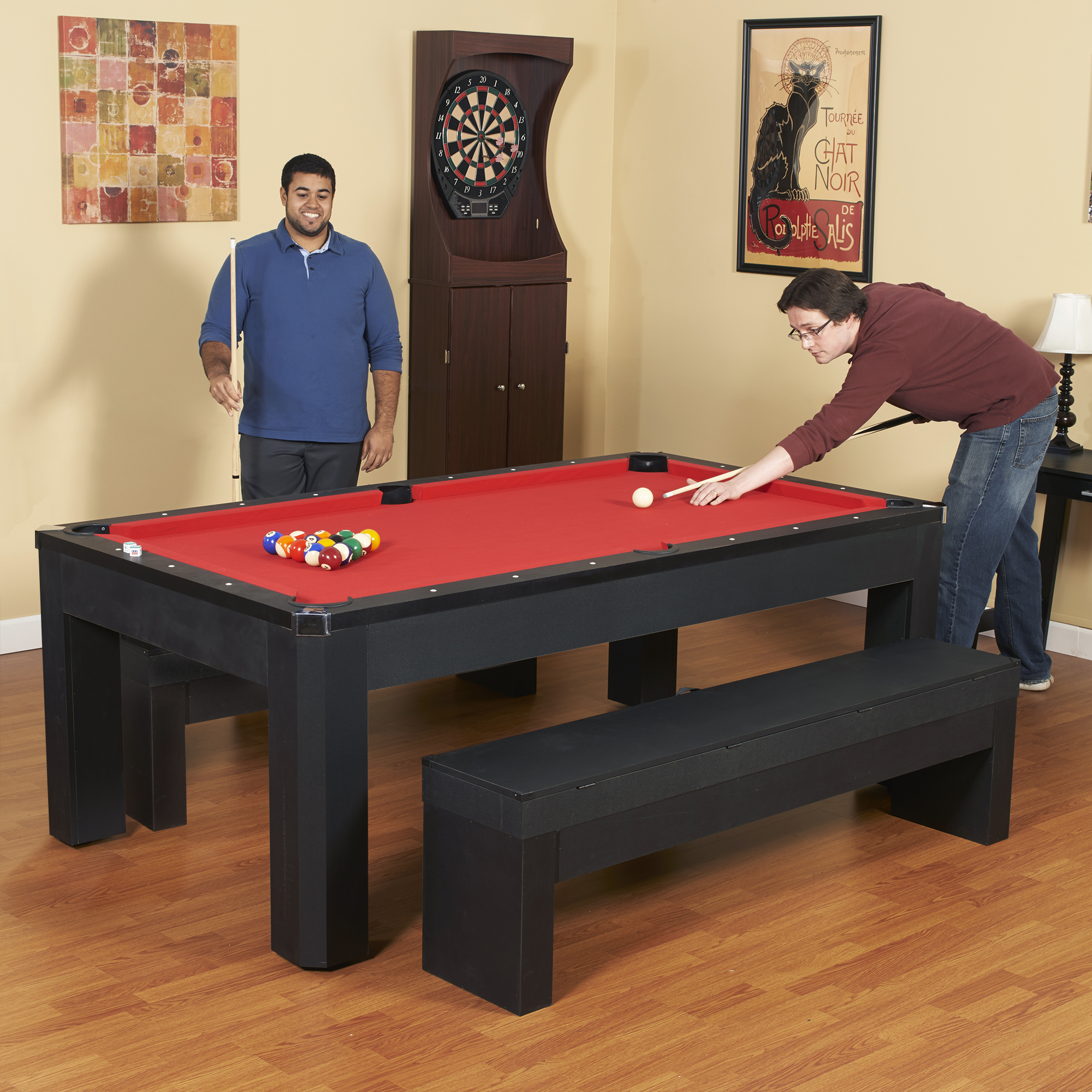 Hathaway Park Avenue 7 Foot Pool Table Tennis Combination With Dining Top,  Two Storage Benches, Free Accessories