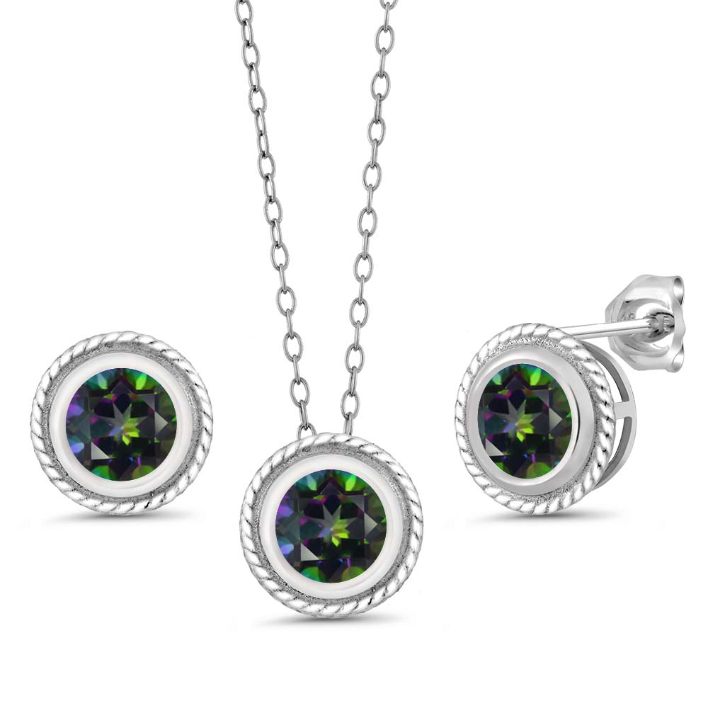 """3.00 Ct Round Mystic Topaz Gemstone Silver Pendant Earrings Set with 18"""" Chain"""