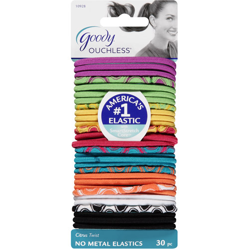 Goody Ouchless No Metal Elastics, Citrus Twist, 30 count