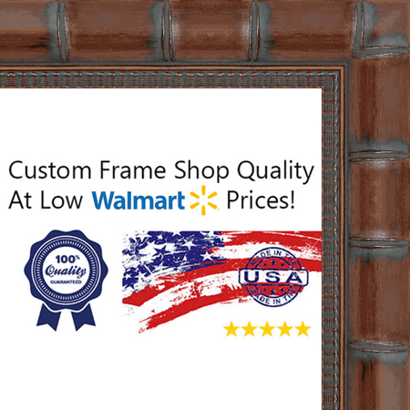10x20 - 10 x 20 Brown Bamboo Solid Wood Frame with UV Framer's Acrylic & Foam Board Backing - Great For a Photo, Po