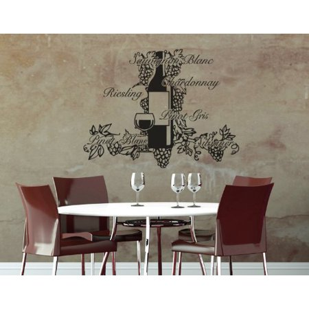Wine Decor: Pinot, Chardonnay, Sauvignon, Riesling Wall Decal - Wall Sticker, Vinyl Wall Art, Home Decor, Wall Mural - 2016 - White, 24in x