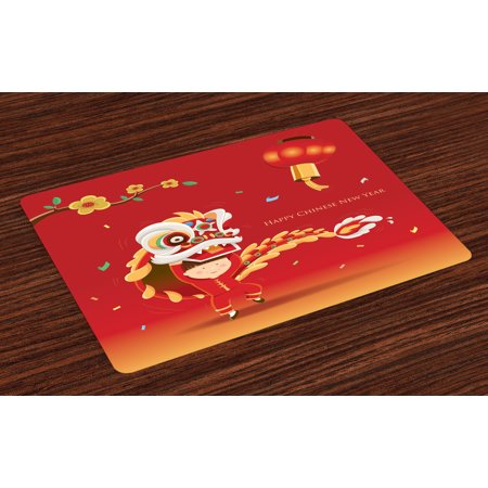 Chinese New Year Placemats Set of 4 Little Boy Performing Lion Dance with the Costume Flowering Branch Lantern, Washable Fabric Place Mats for Dining Room Kitchen Table Decor,Multicolor, by Ambesonne