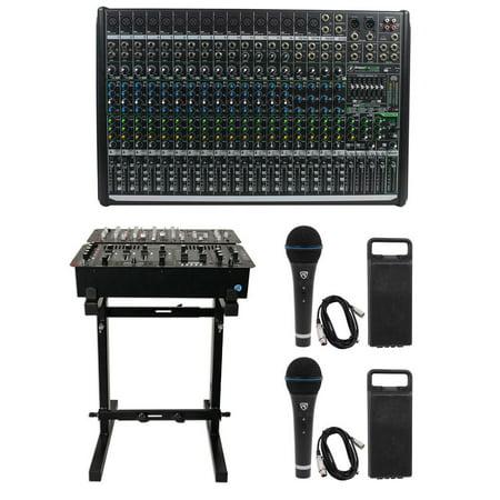 mackie profx22v2 pro 22 channel 4 bus mixer w fx usb profx22 v2 stand 2 mics. Black Bedroom Furniture Sets. Home Design Ideas
