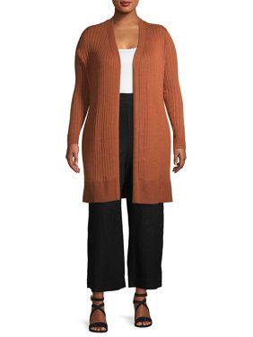 Terra and Sky Women's Plus Size Pointelle Cardigan