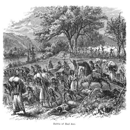 Black Hawk War 1832 Nthe Defeat Of The Sauk And Fox Native Americans Under Black Hawk By An American Mixed Force Militia And Regular Infantry Led By General Henry Atkinson