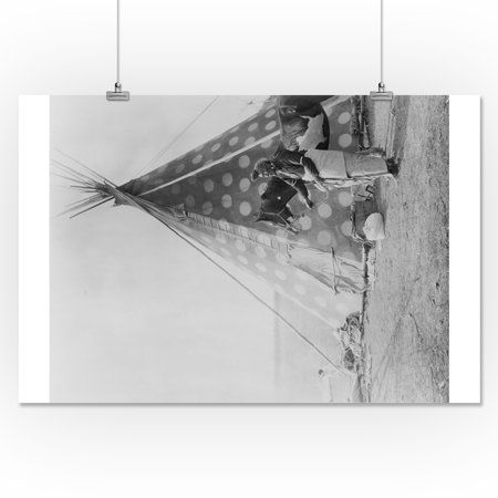 Blackfoot Indian in front of Tepee Curtis Photograph (16x24 Giclee Gallery  Print, Wall Decor Travel Poster)