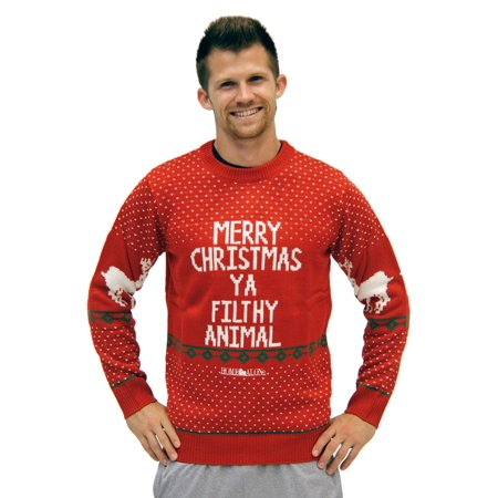 1cb689067d2 Home Alone Red Ya Filthy Animal Ugly Christmas Sweater - image 1 of 1 ...