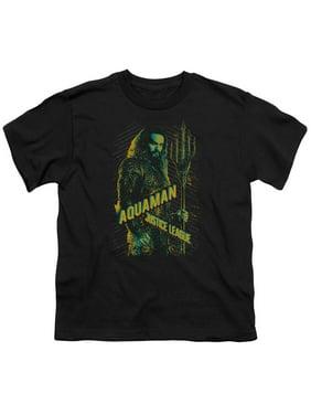 Justice League Movie - Aquaman - Youth Short Sleeve Shirt - Medium