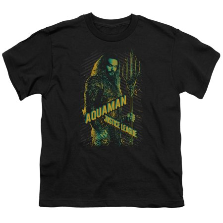 Justice League Movie - Aquaman - Youth Short Sleeve Shirt - Medium Youth League Package