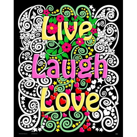 Live Laugh Love - Fuzzy Velvet Coloring Poster 16x20 Inches - Velvet Art Posters To Color