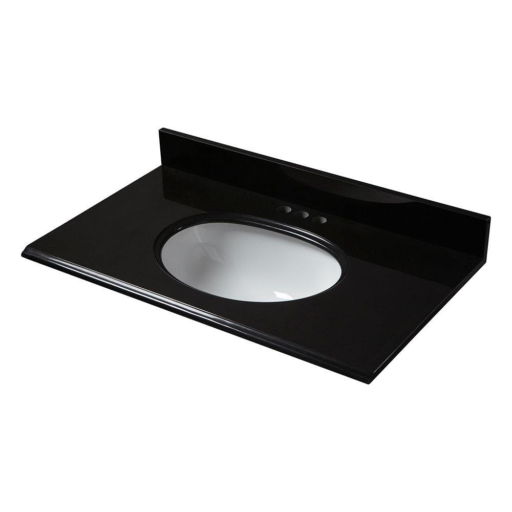 Granite Vanity Top In Midnight Black With White Bowl And 4 Faucet Spread