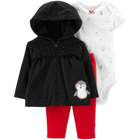 Hooded Babydoll Cardigan, Short Sleeve Bodysuit & Pants, 3-Piece Outfit Set (Baby Girls)