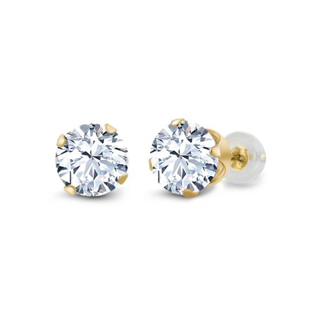 3.00 Ct Round White Cubic Zirconia 14K Yellow Gold 4-prong Stud Earrings 6mm - image 3 de 3