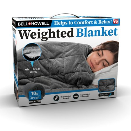 Bell + Howell Weighted Blanket with Glass Beads Filling for Calm Deep Sleep, 10 lbs, As Seen on TV