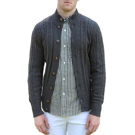 Unique Bargains Men's Long Sleeves Stand Collar Single Breasted Cable Knit Cardigan (Single Breasted Zip)