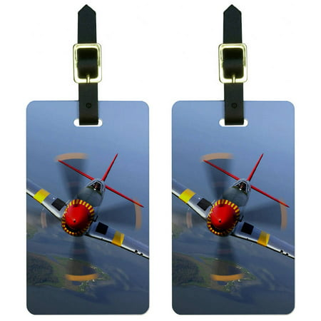 World War 2 II Fighter Plane Aircraft Luggage Tags Suitcase Carry-On ID, Set of