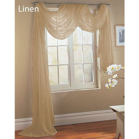 1 PC SOLID TAUPE Hotel High Quality Elegant Window-Sheer Scarf Valance swag topper (37