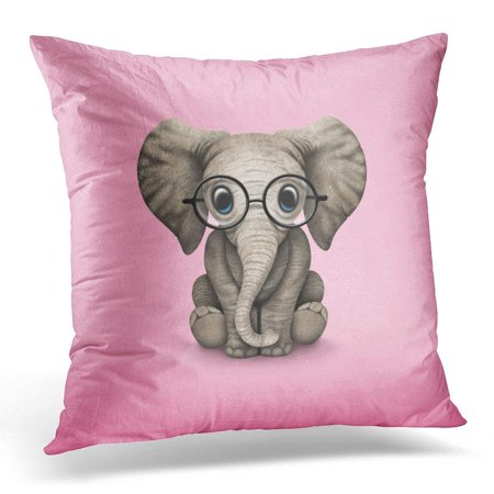 ARTJIA Wearing Cute Baby Elephant with Reading Glasses Eye Pillowcase Cushion Cover 16x16 inches