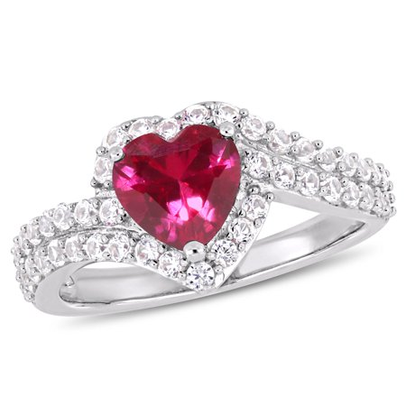 2-1/2 Carat T.G.W. Created White Sapphire and Created Ruby Sterling Silver Heart Ring (Genuine Ruby Heart)