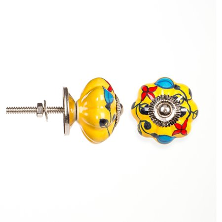 Decorative Knob - Fancy Ceramic - Solid Yellow and Bright Blooms
