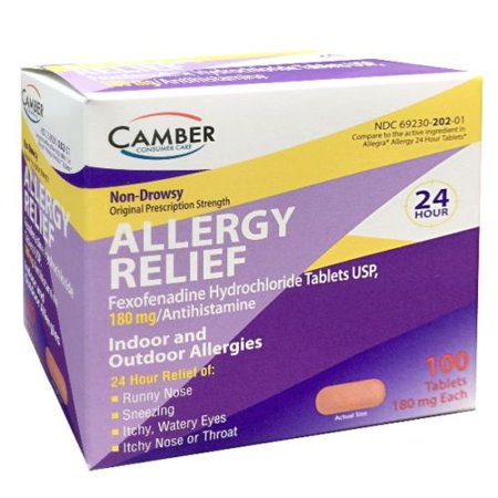 Camber Fexofenadine 180mg Allergy Relief 100ct (Smart Camber)
