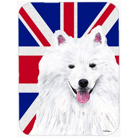 American Eskimo with English Union Jack British Flag Mouse Pad, Hot Pad or Trivet SC9836MP