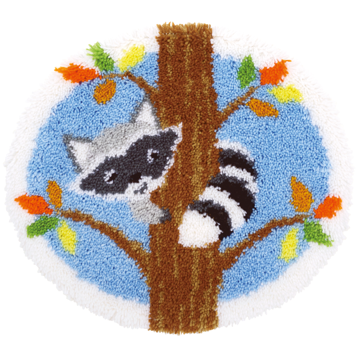 "Vervaco Shaped Rug Latch Hook Kit 21.5""X20""-Raccoon In Tree"