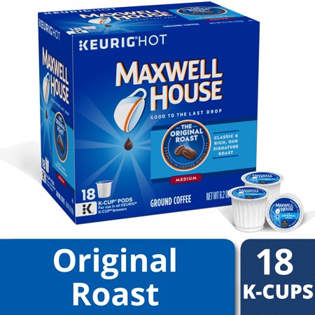 Maxwell House Original Roast Ground Coffee K Cups, Caffeinated, 18 ct - 6.2 oz (Best Tasting K Cup Coffee)