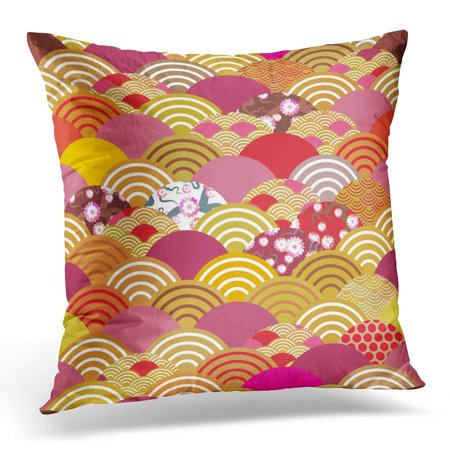 BSDHOME Scales Simple Nature with Japanese Sakura Flower Rosy Pink Cherry Wave Circle Orange Red Burgundy Pillow Case Pillow Cover 18x18 inch - image 1 de 1