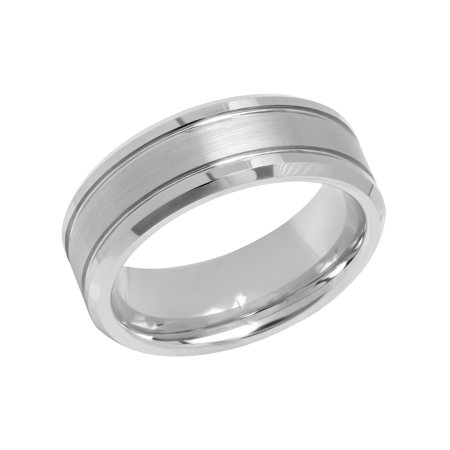 Men's 8MM Tungsten Double Grooved Wedding Band - Mens Ring (Gray Freshwater Ring)