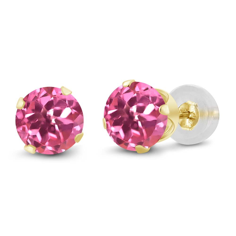 2.00 Ct Mystic Pink Topaz 14K Yellow Gold Stud Earrings 6MM - image 3 of 3
