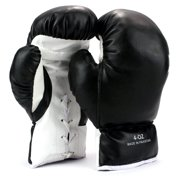 Pair of 4 Oz Children Kids Youth Lace Up Training Boxing Gloves w/ Soft Padding, Durable Construction (Black)