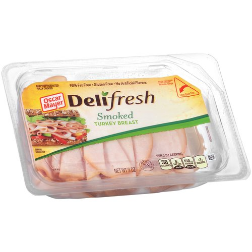 Oscar Mayer Deli Fresh 98% Fat Free Shaved Smoked Turkey Breast, 9 oz